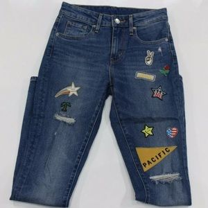 Womens sz 24 L30 Levis jeans patchwork montana sky